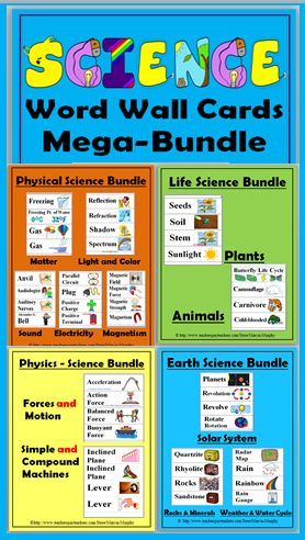 Science Illustrated Word Wall Cards Mega-Bundle - over 640 Words!!!  - Grades 2-6
