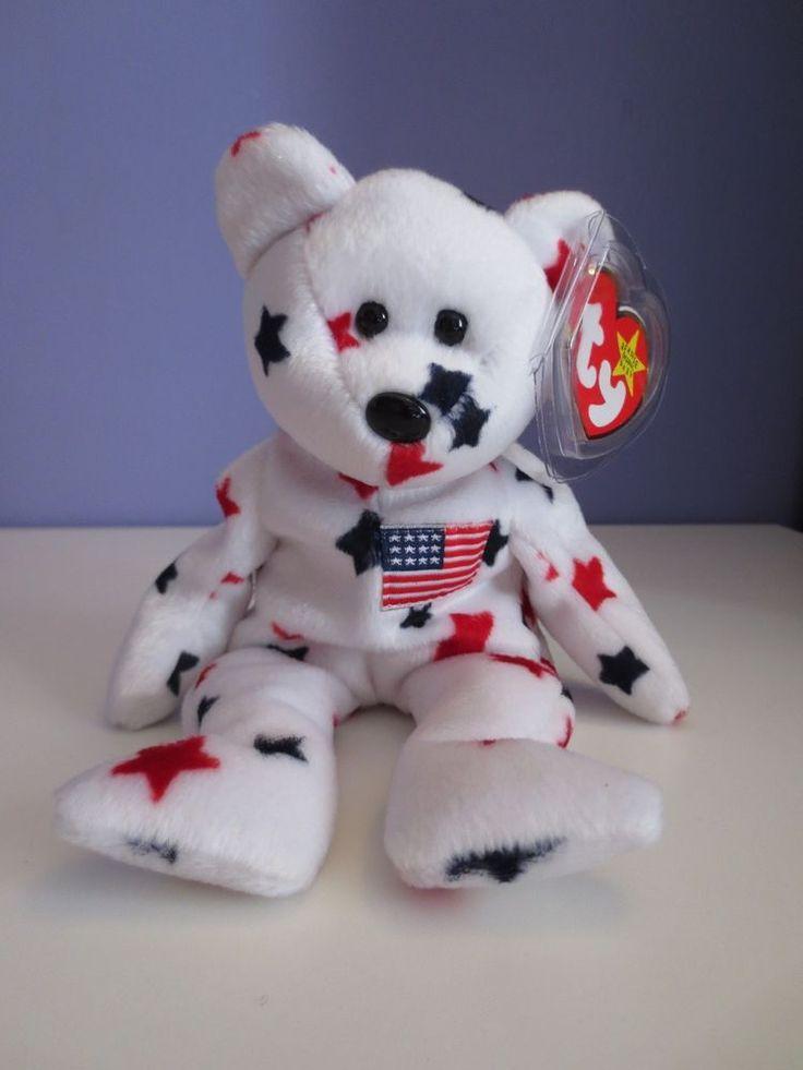 "Ty Beanie Babies ""Glory"" bear July 4 1997 white w red and blue stars"