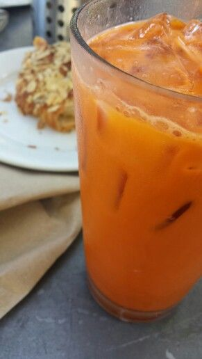 Thai Tea and Almond Croissant