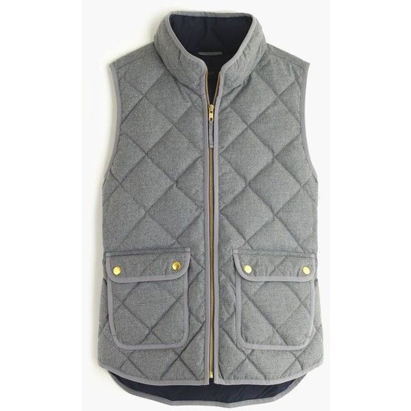 J.Crew Excursion quilted vest in flannel ($128) ❤ liked on Polyvore featuring outerwear, vests, jackets, coats, tops, slim vest, vest waistcoat, down vest, lightweight quilted vest and quilted vest