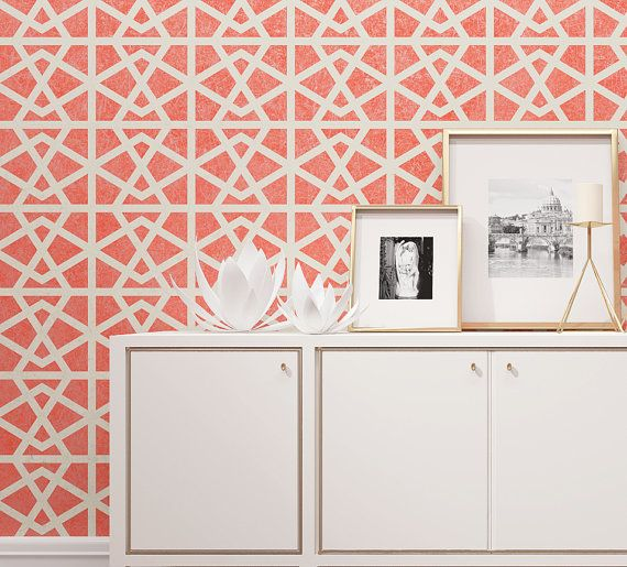 Wall Painting Stencil - Geometric Pattern For Wall Decor - Seamless Pattern Wall Stencil