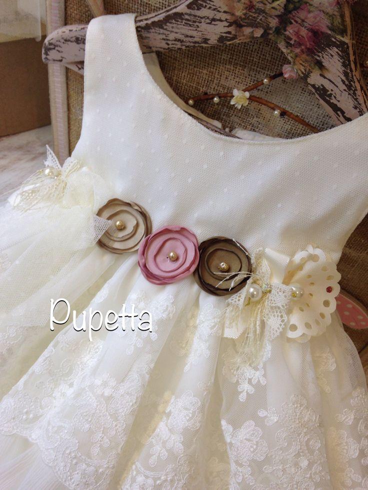 """Βαπτιστικό φόρεμα """"Pupetta"""" (Baptism dress-girl-baby) www.nikolas-ker.gr"""