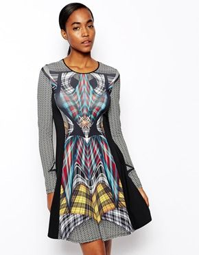 Clover Canyon Flight of the Earls Printed Dress in Matte Jersey with Long Sleeves