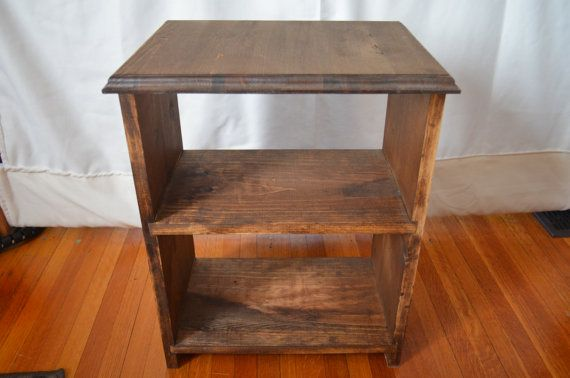 Bedside table in Pine with distressed dark by LKWoodenthings, $85.00