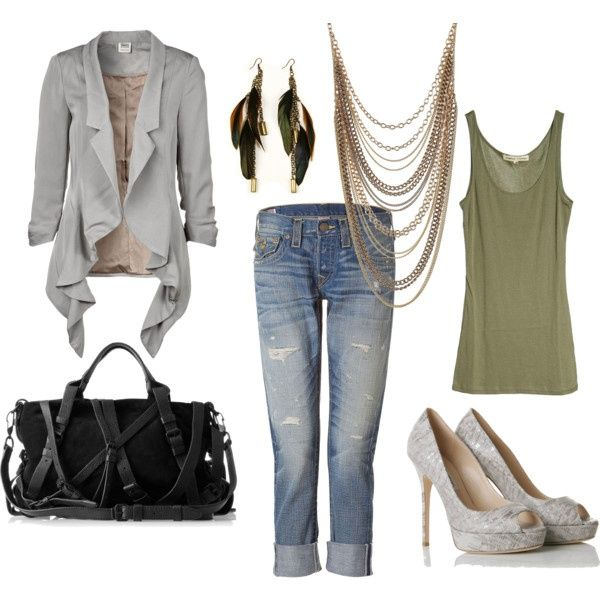 Ooooo...super classy outfit, with a little rocker chic thrown in.  :)  I'd want the shoes to be close-toe, but I like them. Not sure if I could pull off that blazer, but I'd try it. Maybe do non-cuffed jeans. I really like that bag. Ugh, it's all so expensive though! Bummer, because it's a really cool outfit.