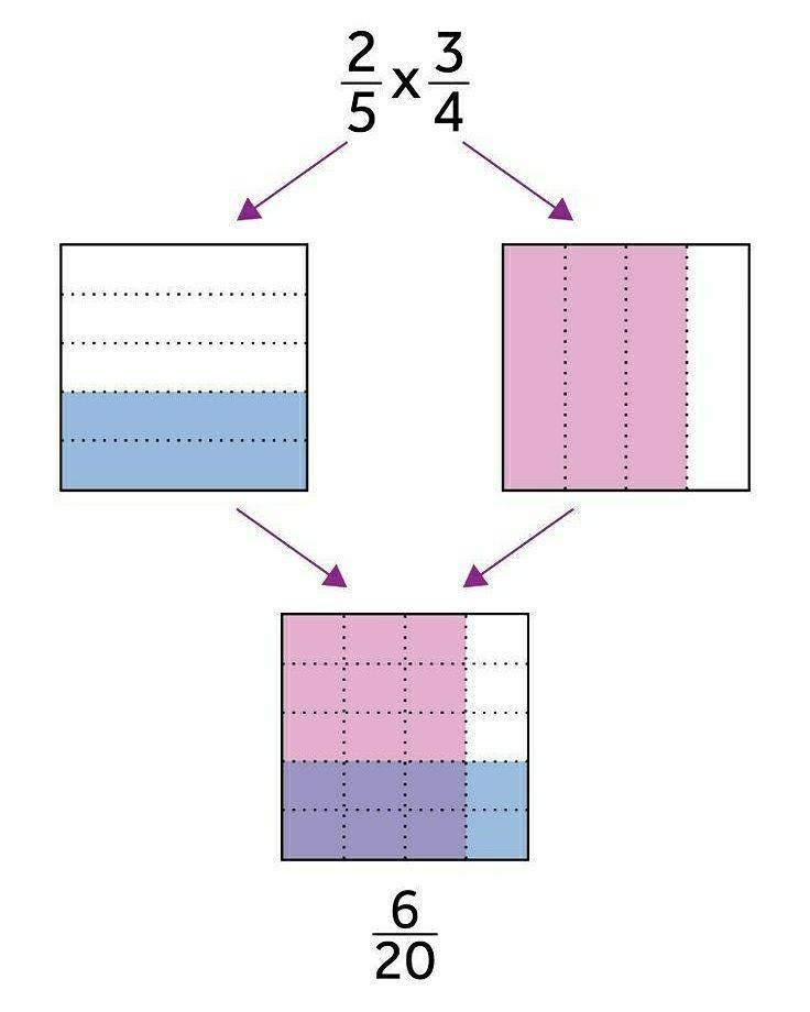 Excelente representación gráfica de una multiplicación de fracciones.   Visita nuestro perfil y aprende más!   #Ciencias #Matemáticas