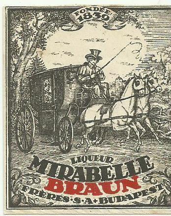 original liqueur label mirabelle braun 1920s