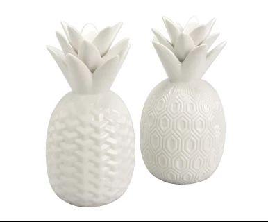 """Komplet 2 dekoracji """"Pineapple White"""", Ø 13, wys. 25 cm"""