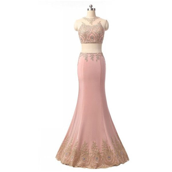 Pink Two Piece Trumpet Mermaid Scoop Neck Tulle Satin Floor Length... (£120) ❤ liked on Polyvore featuring dresses, tulle prom dress, pink dress, two piece prom dresses, long white dress and long pink dress