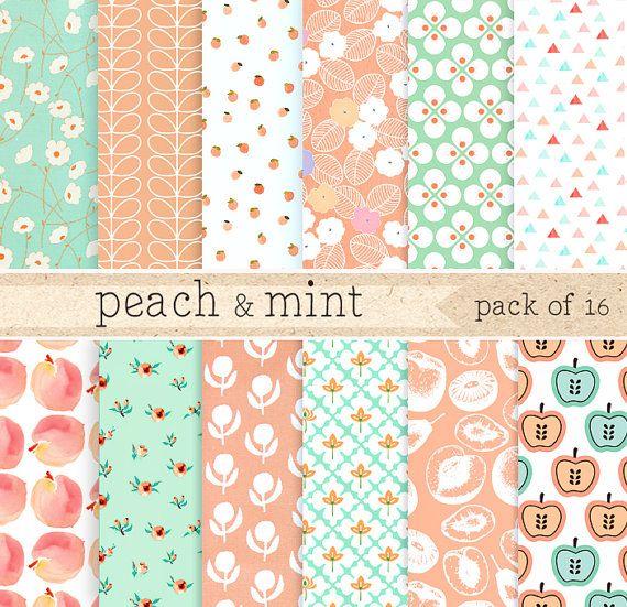 Perzik en Mint digitale papier: groene Lace patroon achtergrond, Pink Coral Floral Scrapbooking Pack, Teal blauwe DIY inwikkeling van papier, verpakking