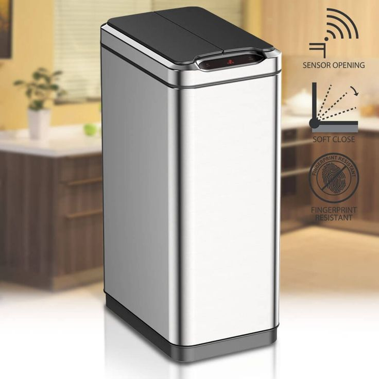 Slim 40litre narrow dual double compartment kitchen waste food recycling dust bin. This slimline recycle bin has a unique motion sensor activated butterfly, wing opening and closing touchless lid.: Amazon.co.uk: Kitchen & Home