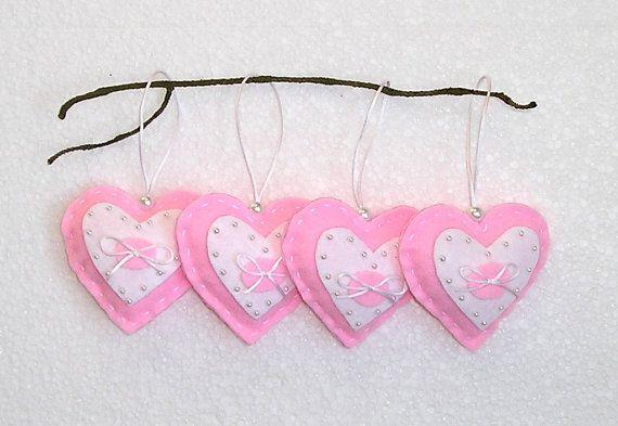Pink Lovely Felt Hearts, Handing Felt Ornament, wedding home decor, felt heart, set of 4