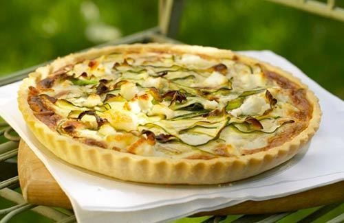 Courgette, goat's cheese and toasted pine nut tart
