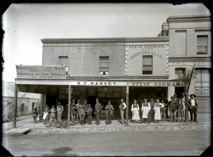 Harvey and Ashman shops, Market Street, Newcastle, NSW, 1887. Picture: scanned from the original glass negative taken by Ralph Snowball.