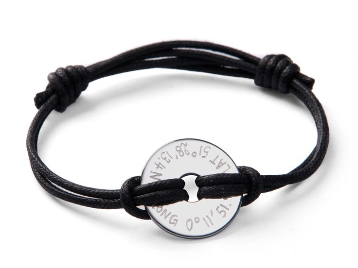 Christmas in #HTFStyle Men's personalised sterling silver GPS coordinate disc bracelet
