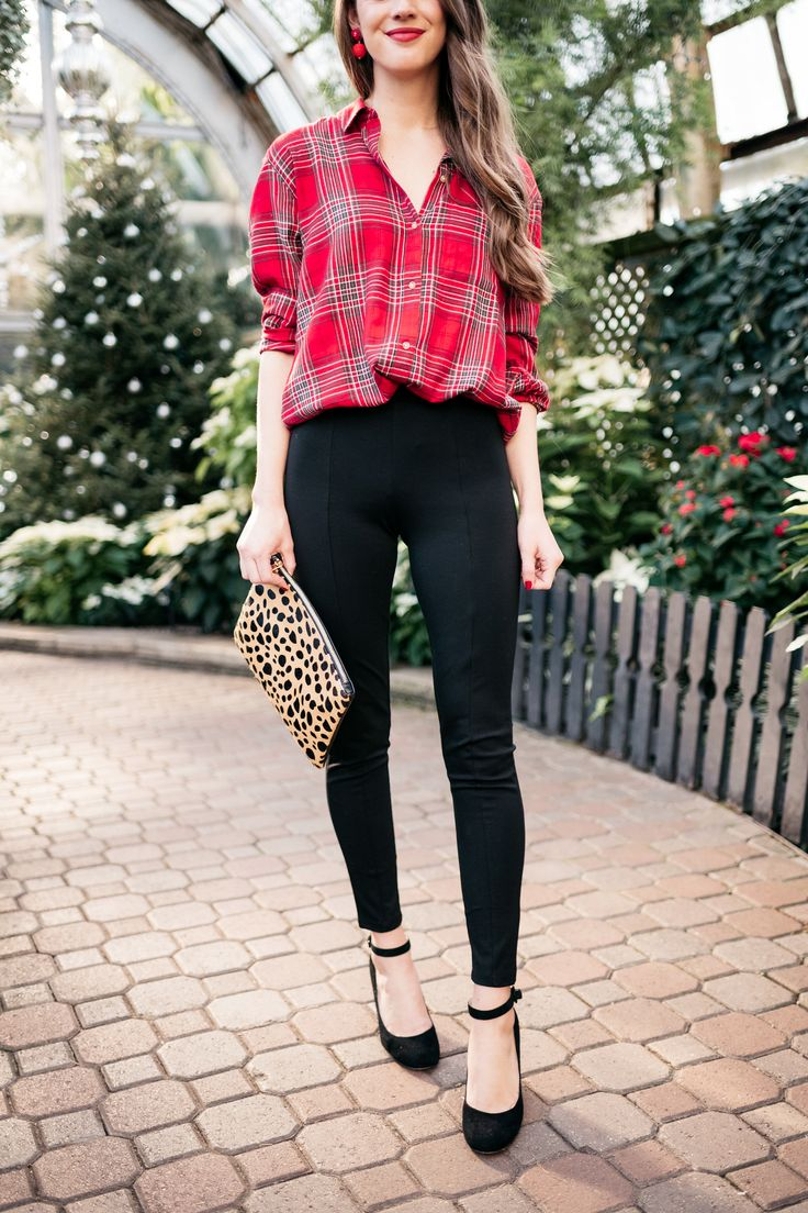 """This is perhaps the most versatile look of all–when you aren't sure what to wear to a holiday party (you know, one that isn't """"cocktail"""" attire but it's not """"super casual"""" either?) this can be your foolproof outfit formula! It's classic and conservative enough to wear to Grandma's, but it's cute and fun enough to wear out with friends, too!"""