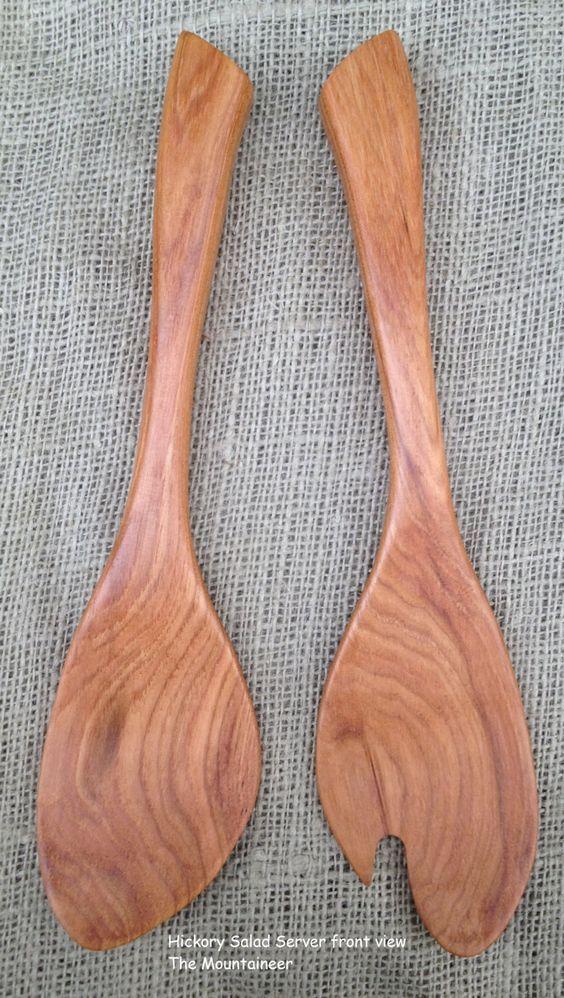 Salad Server set handmade in Hickory wood Sassafras leaf design