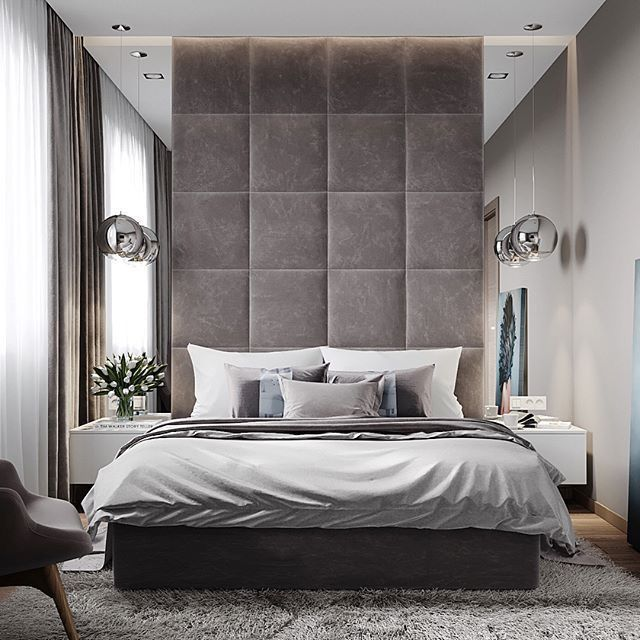 Modern Style Bedroom Decor With Extra Tall Headboard Extended