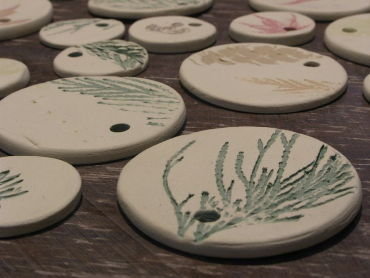 Ceramic ornaments in progress in the studio.  -- Guild of Thing Smiths