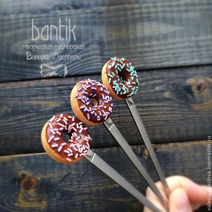 Купить Вкусные ложки из полимерной глины с пончиком - бежевый, вкусные ложки, вкусная ложка, лажка