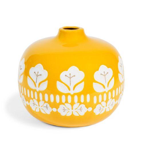 Vase mit Blumendekoration VINTAGE aus Steinzeug, H 18cm, gelb