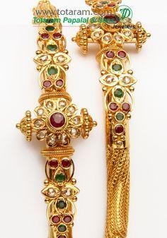 Totaram Jewelers: Buy 22 karat Gold jewelry & Diamond jewellery from India: 22K Fine Gold Uncut Diamond Kada with Rubies & Emeralds