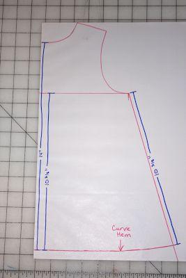 tuto pour évaser un vêtement droit à l'origine et dessiner corectement la base courbe