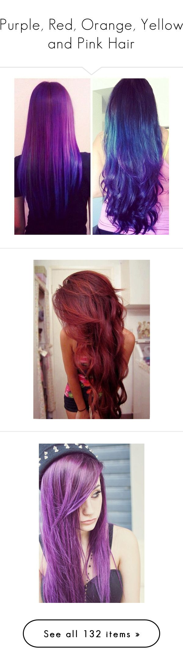 """""""Purple, Red, Orange, Yellow and Pink Hair"""" by megsjessd99 ❤ liked on Polyvore featuring beauty products, haircare, hair styling tools, hair, hair styles, beauty, purple, hairstyles, cabelos and people"""