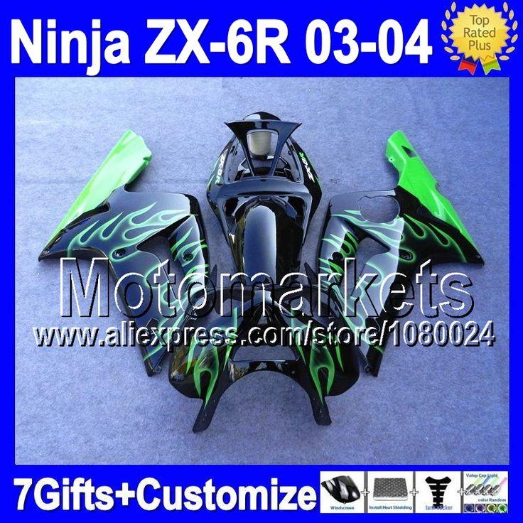 Зеленый 7 подарки для KAWASAKI 03 - 04 ниндзя ZX-6R 03 04 ZX 6 R M8131 ZX 6R 636 ZX6R ZX636 2003 2004 обтекатели зеленый черный
