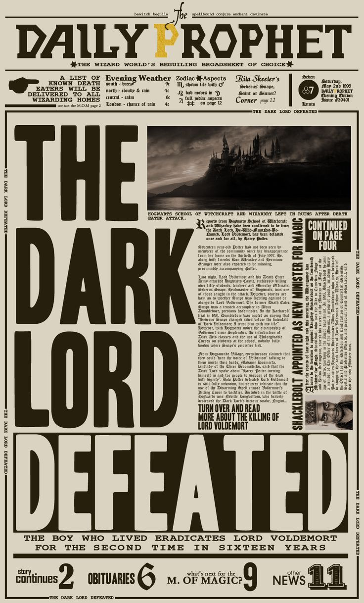"""The Daily Prophet: """"The Dark Lord Defeated"""" by ~nathanthenerd on deviantART #harrypotter"""