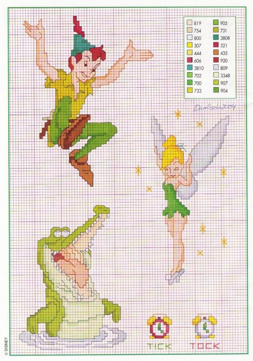 Peter Pan Tinker Bell Crocodile Cross Stitch Cross