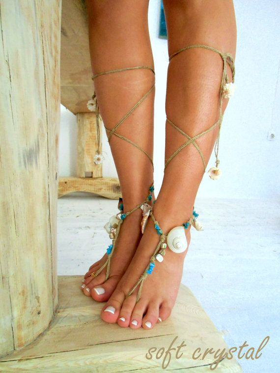 Barefoot Sandals Barefoot Beach Jewelry barefoot by SoftCrystal