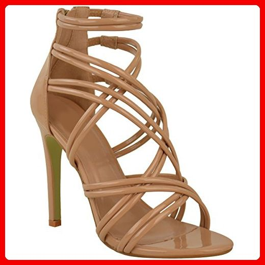 Damen High Heels - Riemen-Sandalette mit offener Spitze & Stiletto-Absatz - Mokka-Braun Lack-Optik - EUR 37 - Damen pumps (*Partner-Link)