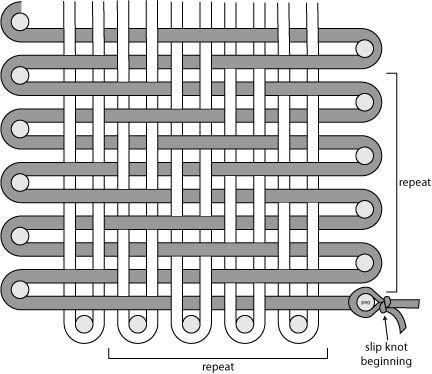 Free Loom-Woven Pattern: Martha Stewart CraftsTM/MC Merino Loom Woven Blue Note Pillow