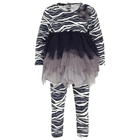 Navy, Cream and Grey Zebra Print Jersey Dress