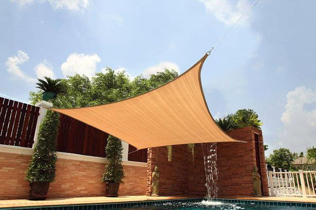 Shade Sails has below features: •	Knitted with 100% Pure virgin HDPE •	Weight:160gsm-320gsm •	UV stabilized ,5 years warranty •	Blocks up to 95% of harmful UV rays •	Easy for cleanup and compact storage •	Stainless steel rings at each corner •	Webbing along the whole edge •	Shape: triangle, rectangle and square shape available •	Package: PVC bag inside and carton outside •	Wide range of colors and sizes •	Installation easily by yourself http://www.hf-shadenet.com/Shade_Sails.html