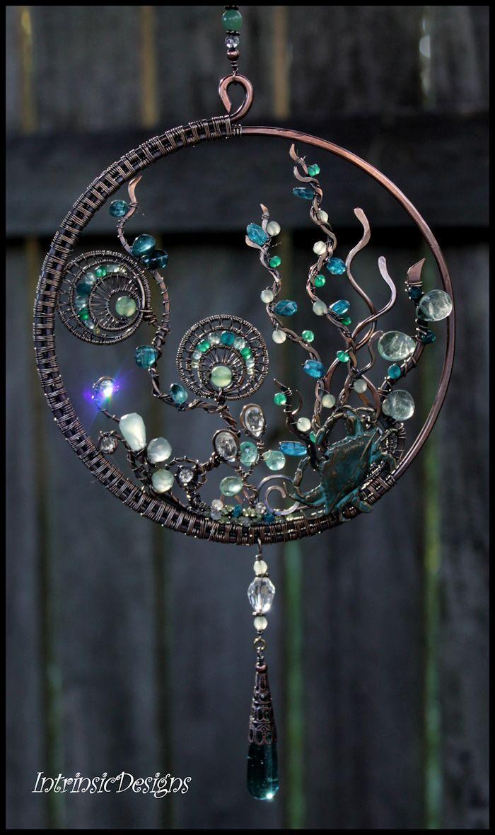 Gemstone and wire suncatcher...Reef in Seafoam and Blue