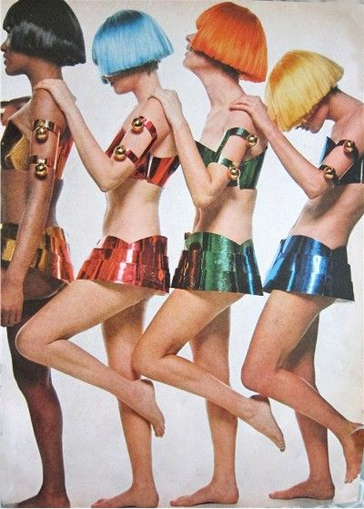 Space age metal bras and micro micro mini skirts by Courreges 1969