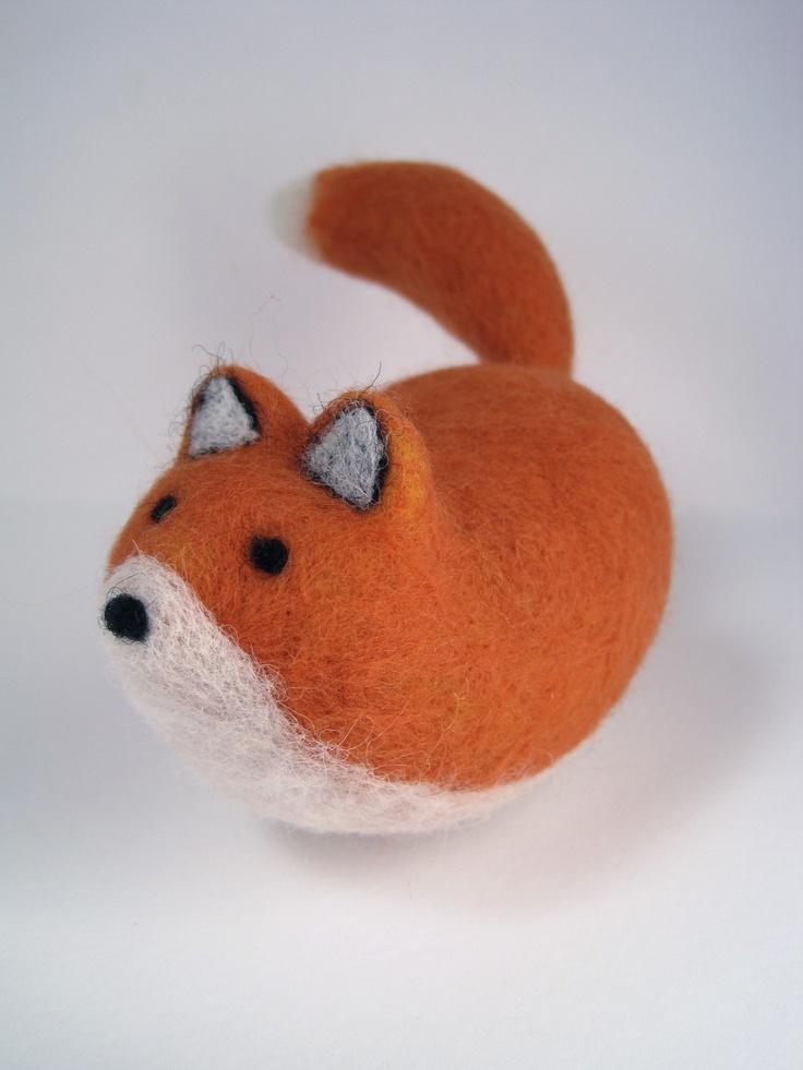 Jelly Bean Fox - Needle Felted Wool Sculpture