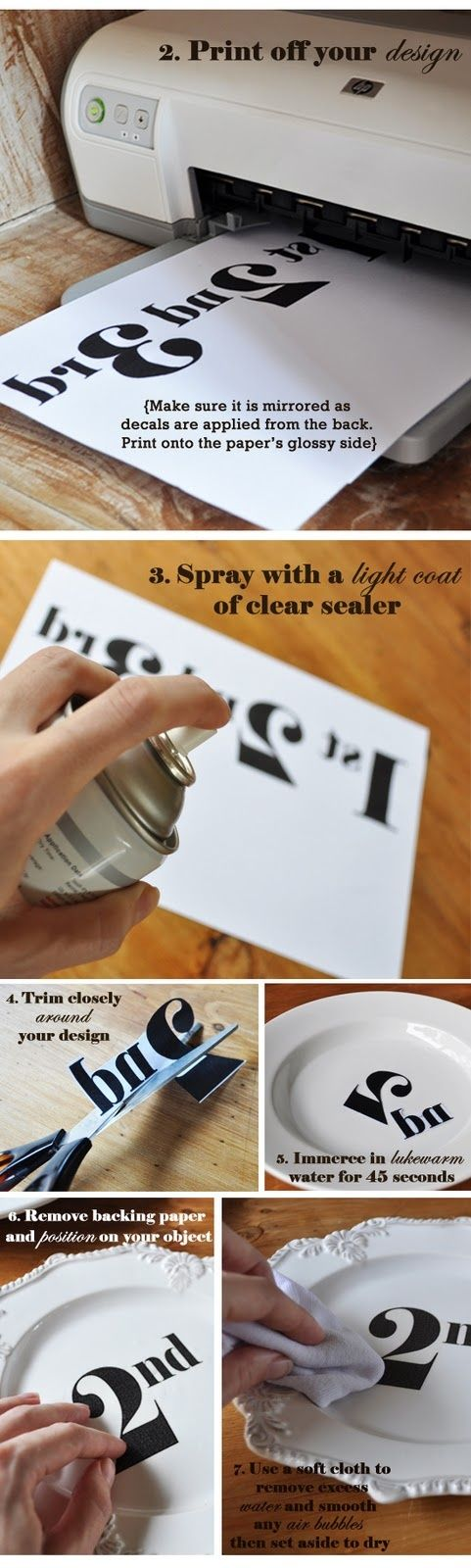 DIY Transfer Decal Tutorial:  This would be a great way to make a set of table numbers... if not plates, then some other ceramic surface.