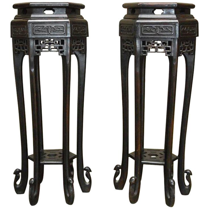 Chinese Carved Pedestal Tables or Plant Stands - A Pair on Chairish.com