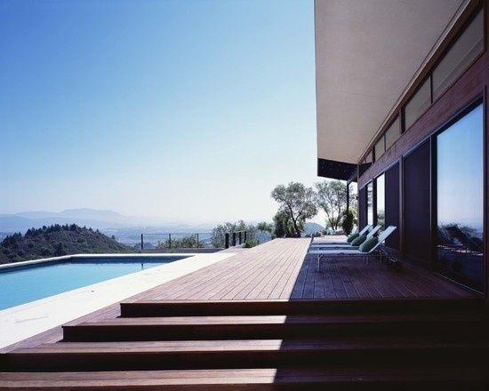 holzdeck schwimmbad ideen terrasse bangkirai holz
