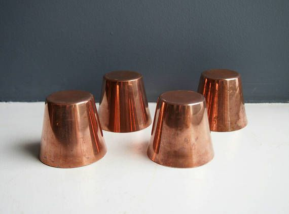 4 Small Vintage Round Copper Cake Moulds Copper Cup Moulds