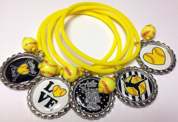 Set of 15 Softball bottle cap bracelets. Party by BanditBabes