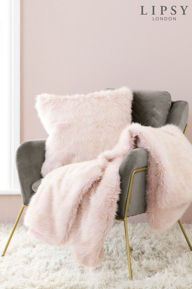 Lipsy Metallic Faux Fur Throw Pink Faux Fur Throw Fur Throw Lipsy