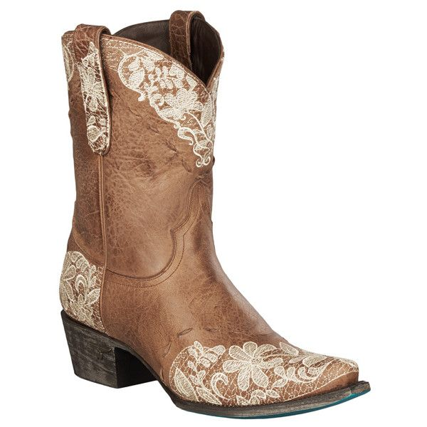 """Lane Boots """"Jeni Lace Shortie"""" Women's Leather Cowboy Boot ($360) ❤ liked on Polyvore featuring shoes, boots, brown, mid-calf boots, brown lace-up boots, platform boots, mid calf cowgirl boots, cowboy boots and brown lace up boots"""