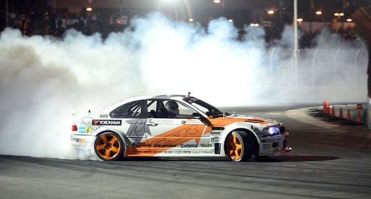 Formula Drift car driver Michael Essa during his qualifying run during the Super Drift Challenge Friday night at the 39 Annual Toyota Grand Prix of Long Beach