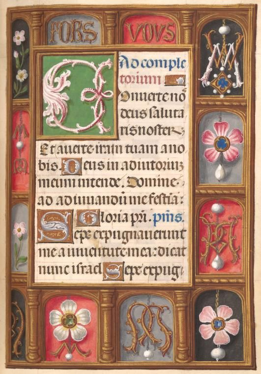 "Trompe-l'œil illuminated border with motto ""Fors vous"" and initials WM and M in Book of Hours, Horae, Roman use, 1500-1515, f. 126, Stephen A. Schwarzman Building / Spencer Collection, Ms. 036"