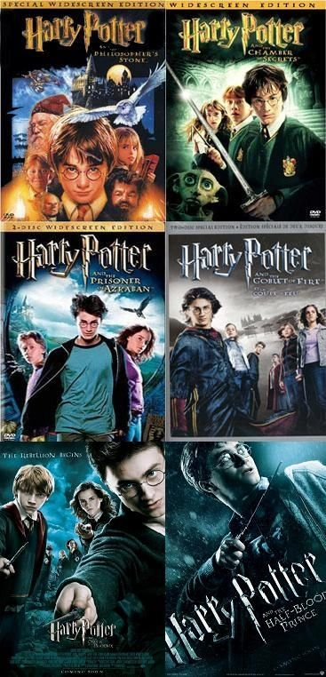 Six Harry Potter Films before Deathly Hallows Parts 1 & 2
