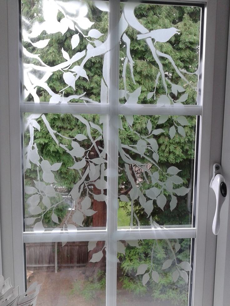 Stenciled window, Birds on a Branch stencil from @Jaymie Kho Cutting Edge Stencils